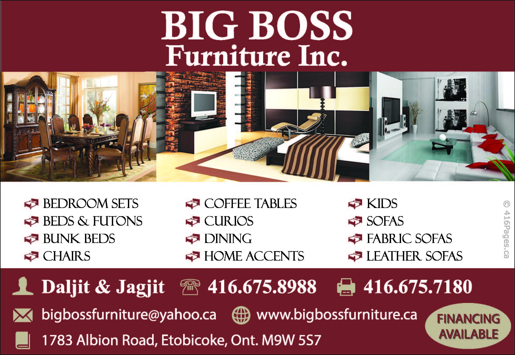 Big Boss Furniture Inc 416 Pages